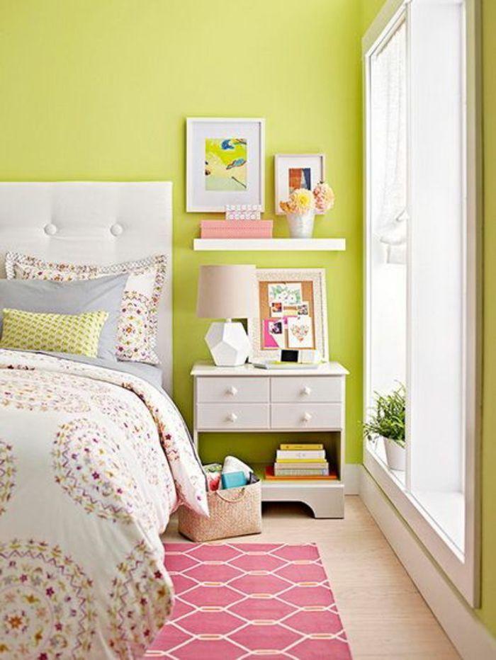 kleines schlafzimmer einrichten grüngelb wandfarbe nachtkonsole