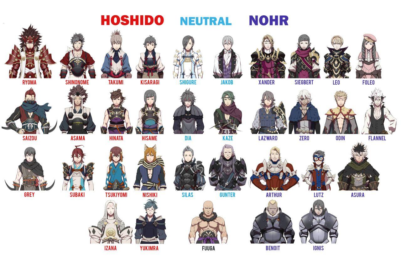 Fire Emblem Fates If Hoshido Neutral And Nohr Characters Male Fire Emblem Fire Emblem Characters Fire Emblem Fates