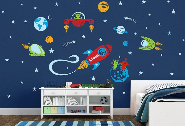 Space Ship Rocket Ship Personalized Name Repositionable Etsy Space Wall Decals Nursery Room Boy Childrens Room Decor