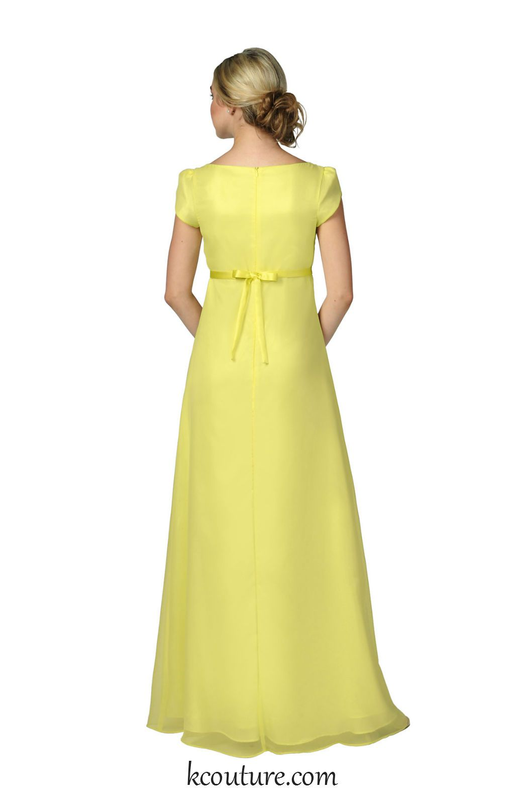 Yellow chiffon empire style bridesmaid dress with sleeves kcouture