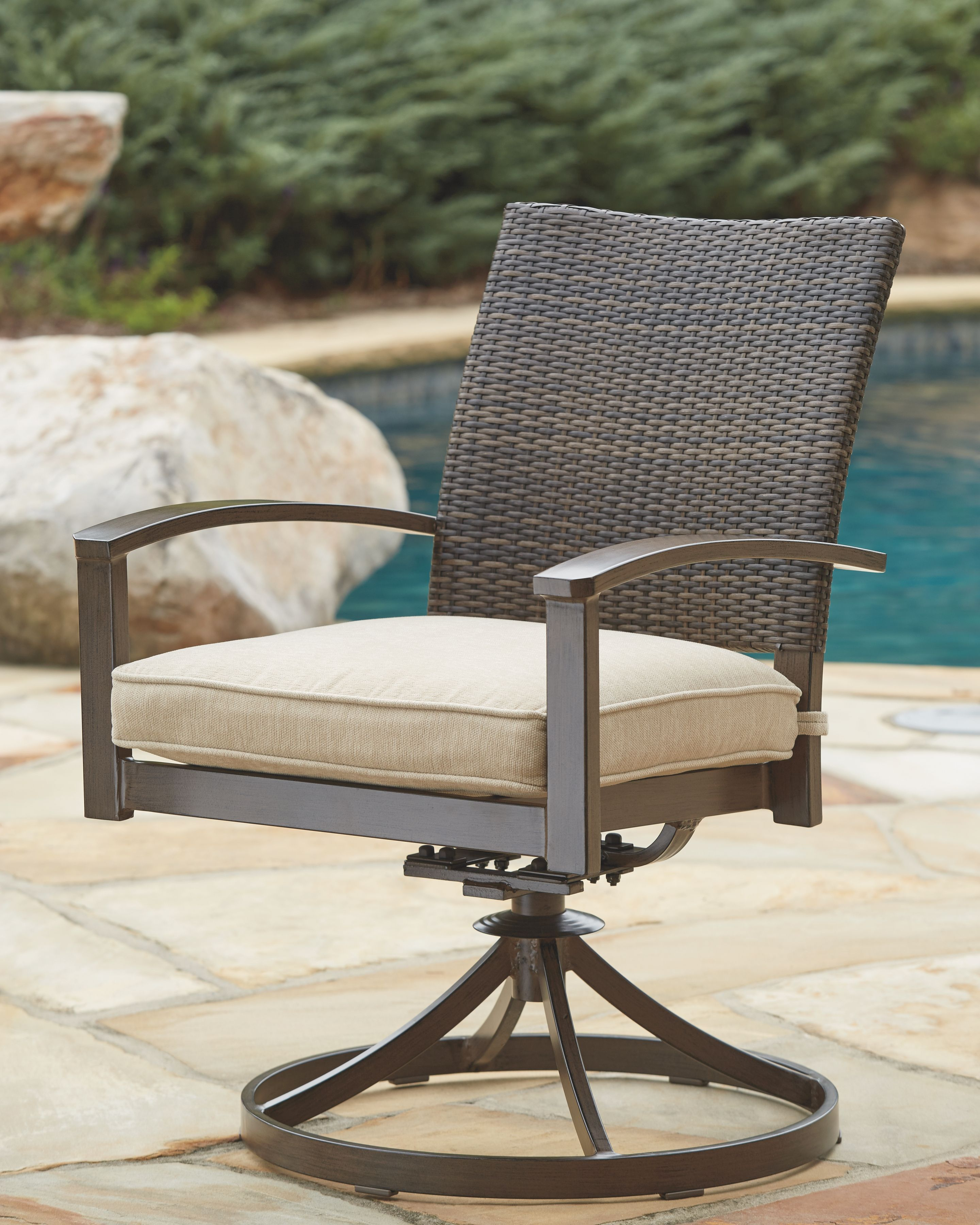 Excellent Moresdale Swivel Chair With Cushion Set Of 2 Brown Pabps2019 Chair Design Images Pabps2019Com