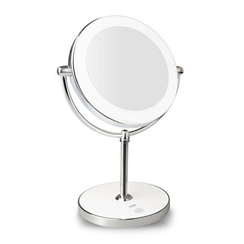 KDKD Lighted Makeup Mirror 1X 7X Magnification Double Sided Round Shape with Base Touch Button Cordless and Rechargeable