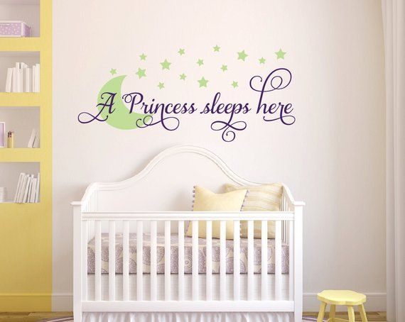 Nursery Decor A Princess Sleeps Here Wall Decal Childrens Room Decor