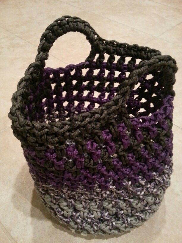 Paracord bag with handles pattern mostly double crochet for How to make a paracord bag