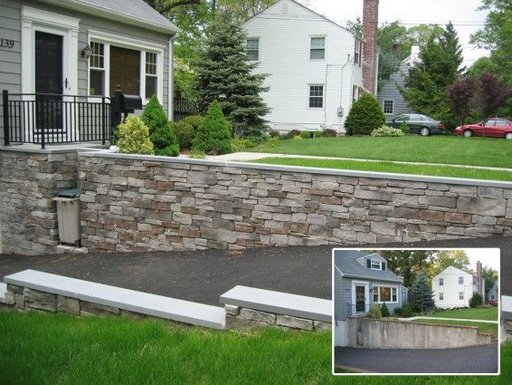 Love The Rock Covered Concrete Wall Such A Better Look