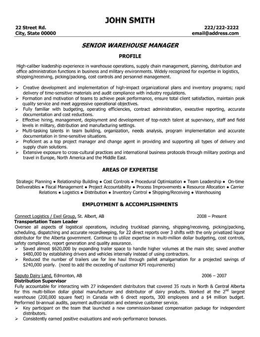 A resume template for a Senior Warehouse Manager You can download - free resumes examples
