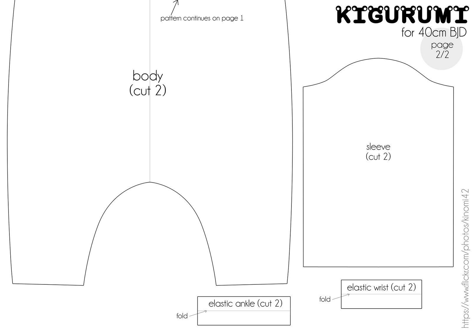 Bjd msd kigurumi pattern (A4 page 2) | doll clothes patterns mature ...
