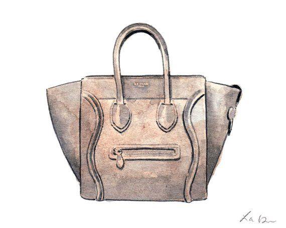 3685d185098c Celine Luggage Bag Handbag Art Watercolor Painting Designer Fashion  Illustration Fashion Art Preppy