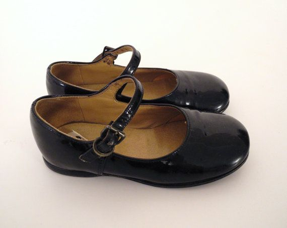 ea767d5e665fa Vintage Baby Shoes, 1960's Black Patent Leather Mary Jane Baby Girl ...