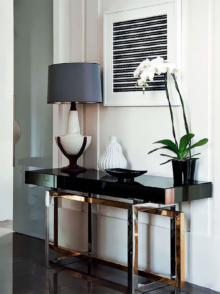 how to decorate a living room with a modern console table entry rh pinterest cl