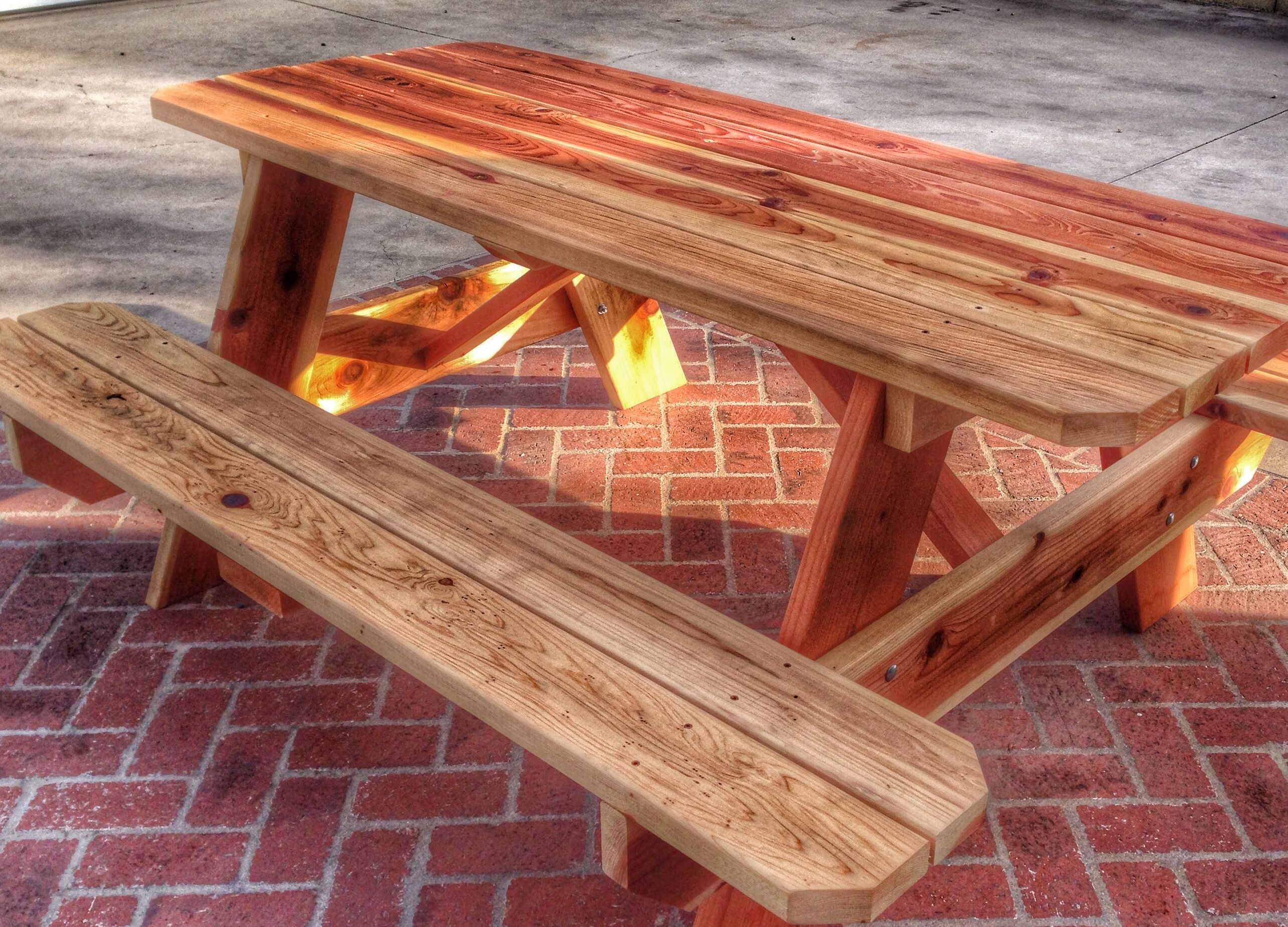 Redwood Picnic Table With 2x8 And 2x6 Heavy Duty Construction. Available  For $475.