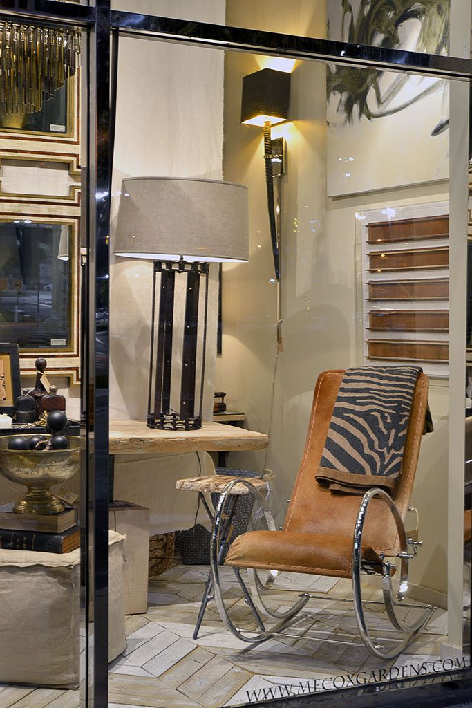 Mecox #Houston window display with #hide and #metal #chair ...