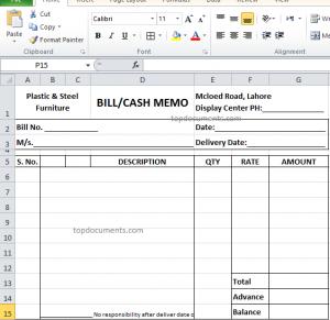 Cash Memo And Bill Format For Furniture In Excel File Memo Format Memo Invoice Format