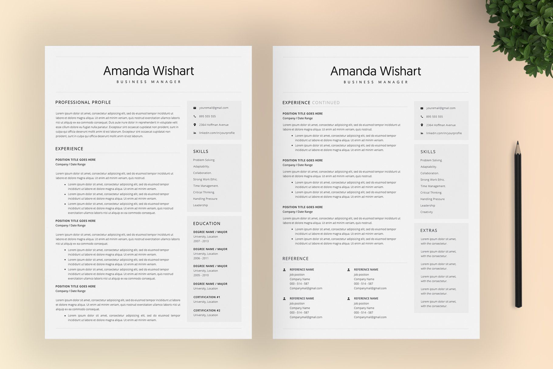 Resume Template Word And 4 Pages Ad Spon Elements