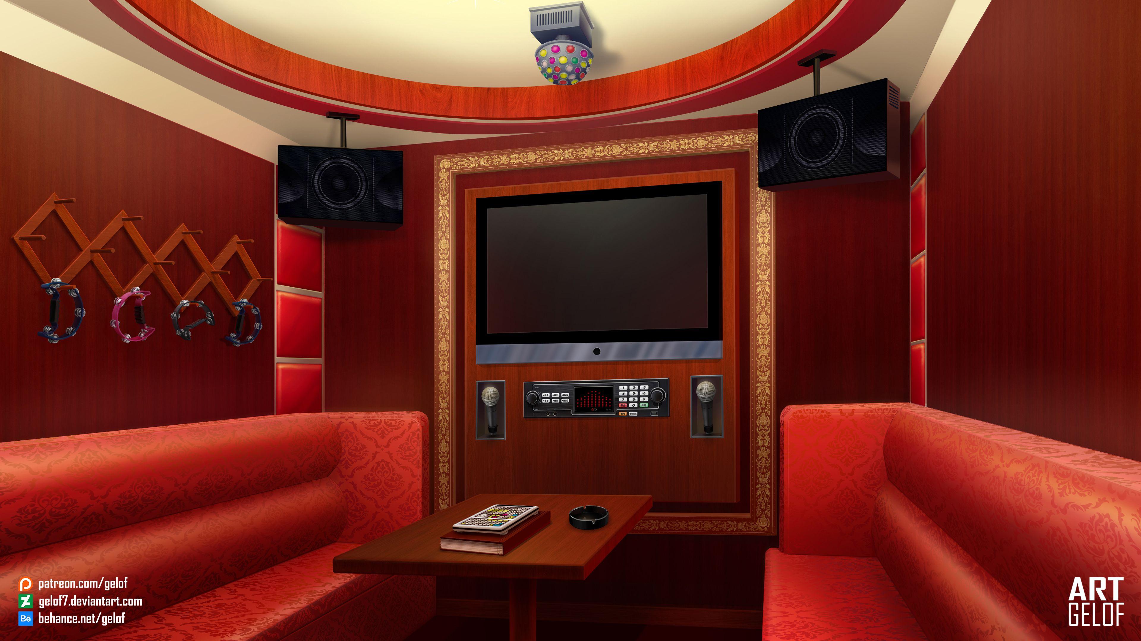 Background For Visual Novel Karaoke Room Com Imagens Sala De