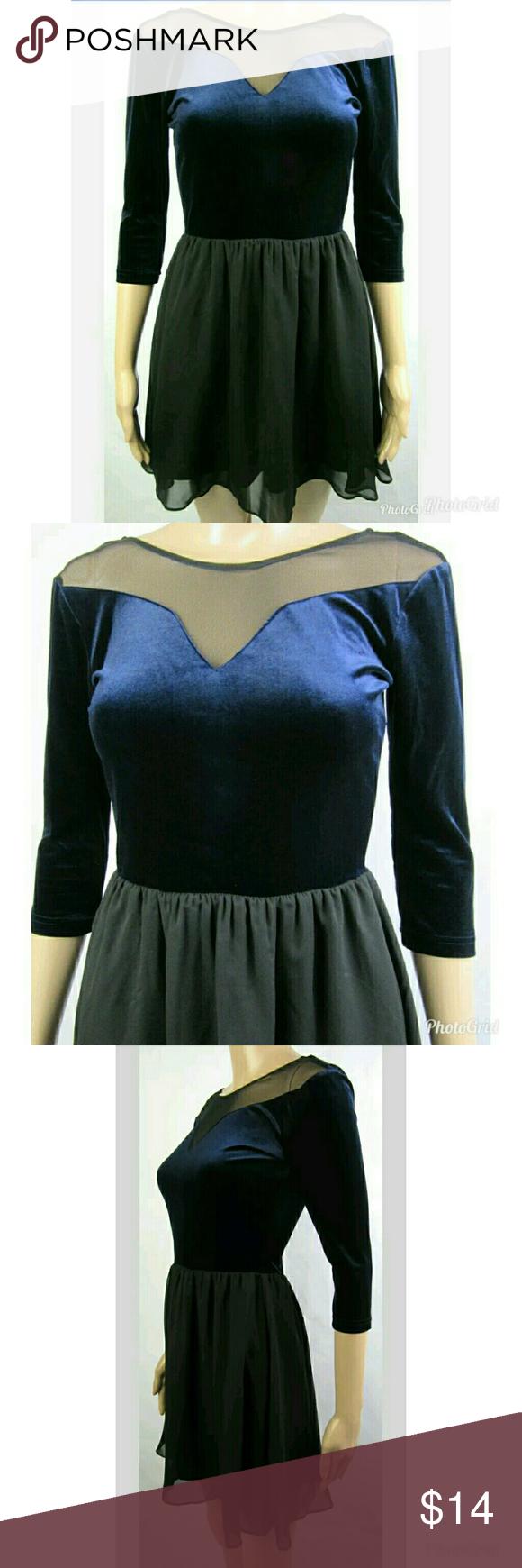 f6942fa31a91 H&M Divided Blue Velvet Dress sz 4 A2-22 D H&M Dresses Mini | My ...