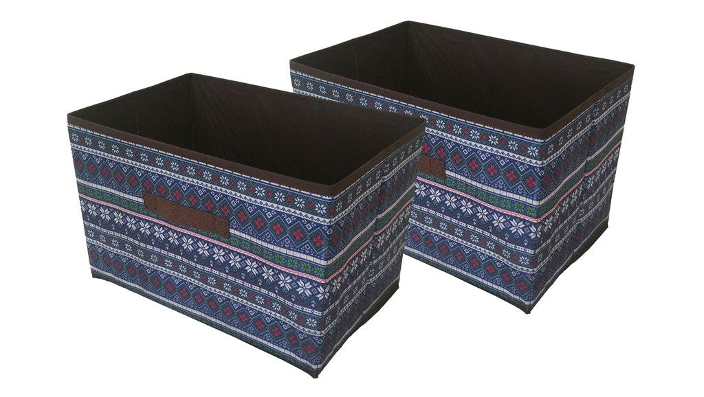 Set of 2 Large FABRIC COLLAPSIBLE CONTAINER Storage closet organizer bins
