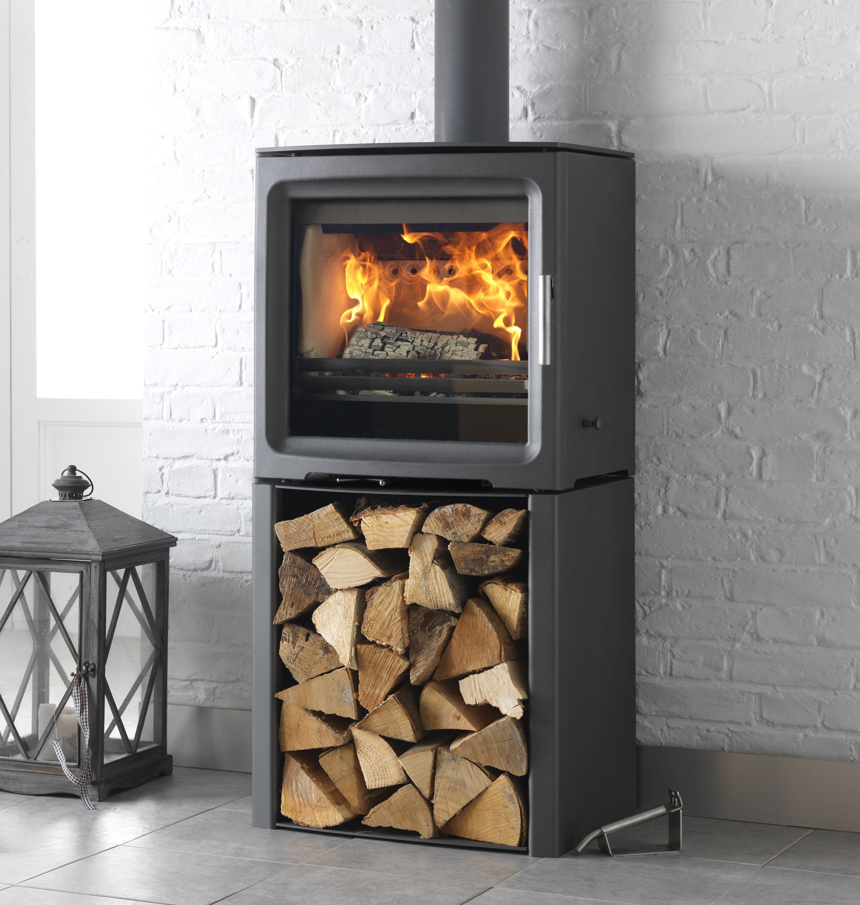 Purevision kw wide freestanding stove on log store to learn more