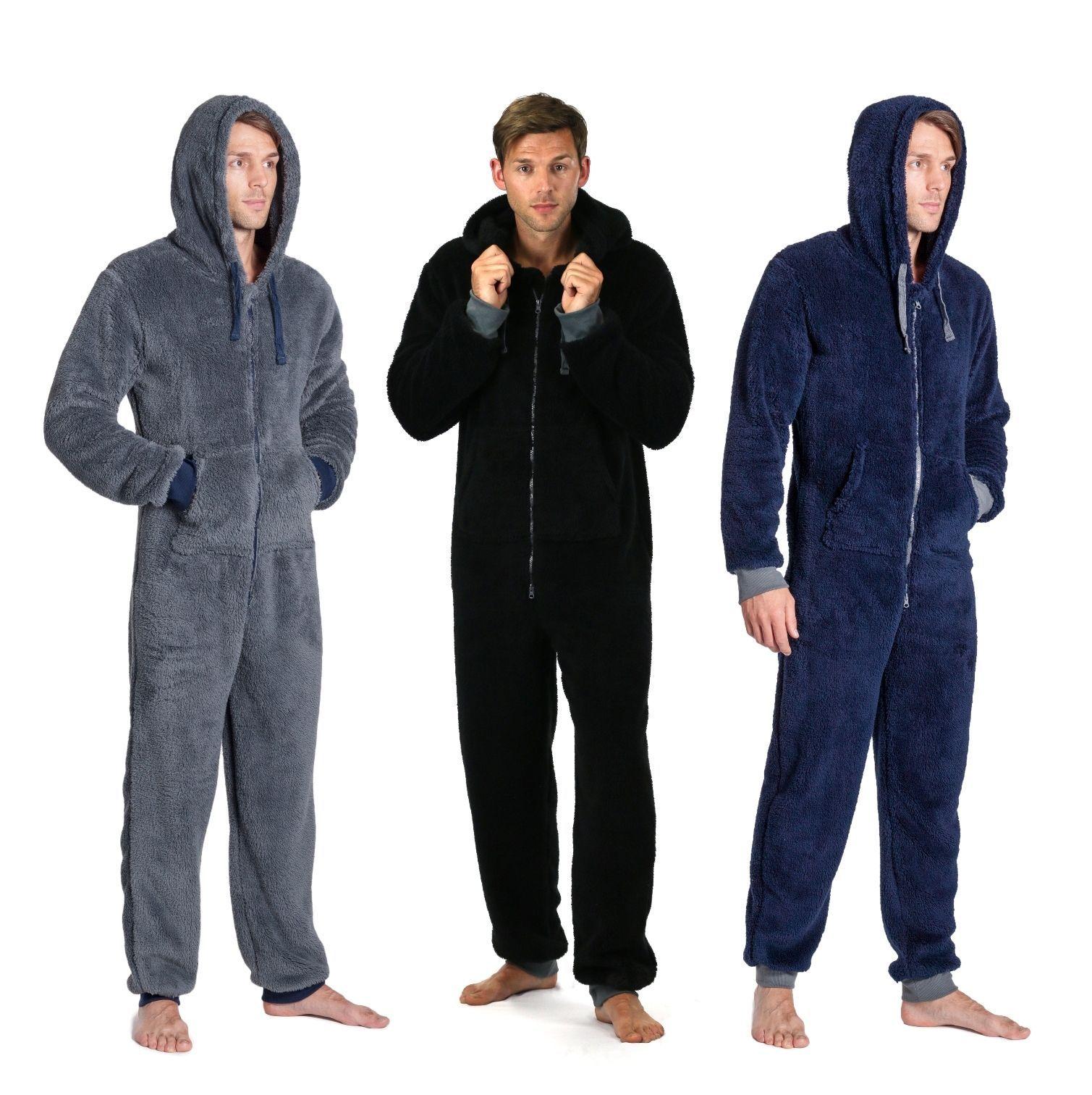 896003eb48d9 Onezee Mens Onesie Snuggle Fleece Super Plain Colour Soft Hooded Warm  Nightwear