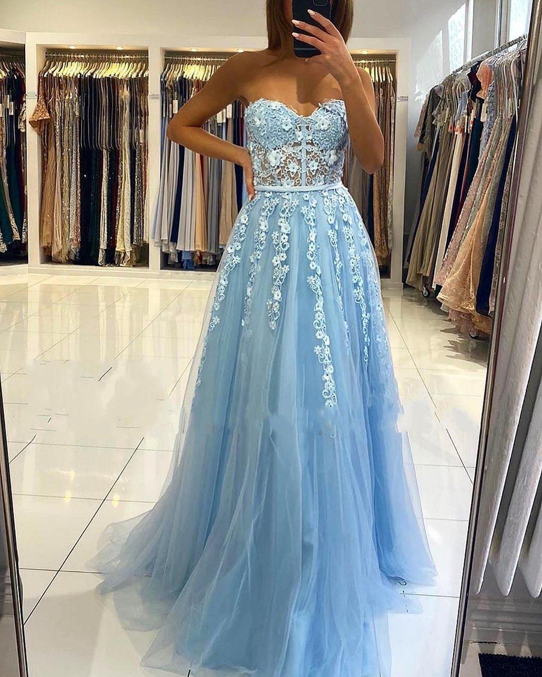 Abendkleider Blau  Abiballkleider Lang Günstig