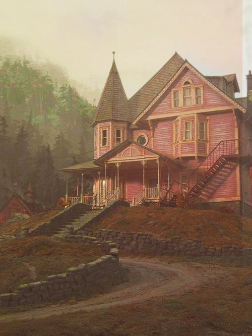 Coraline The Pink Palace I Love This House So Much Ilustracao De Paisagem Wallpapers De Filmes Tim Burton Filmes