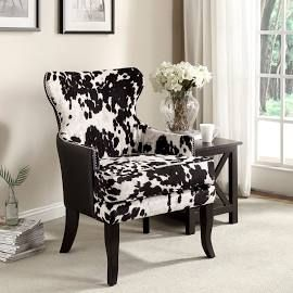 Chalina Rustic Styling Cowhide Accent Chair Black White Fabric