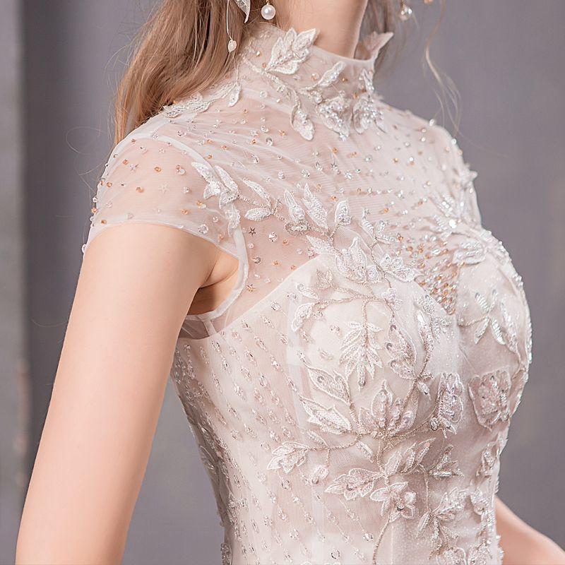 Vintage Lace Cap Sleeves Tulle Princess Wedding Dresses: Vintage / Retro Champagne See-through Wedding Dresses 2019