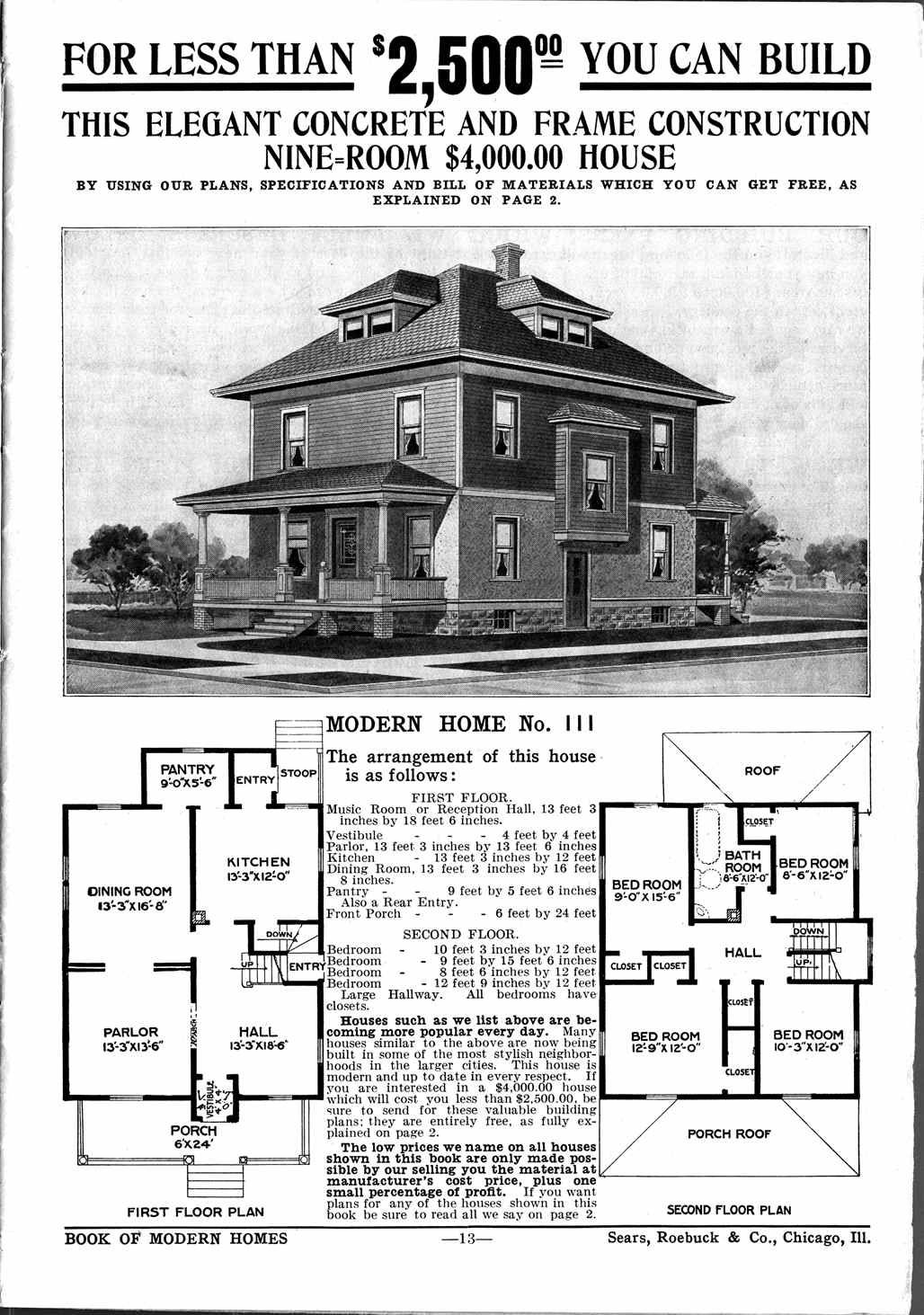 Sears Homes 1908 1914 Square House Plans Four Square Homes