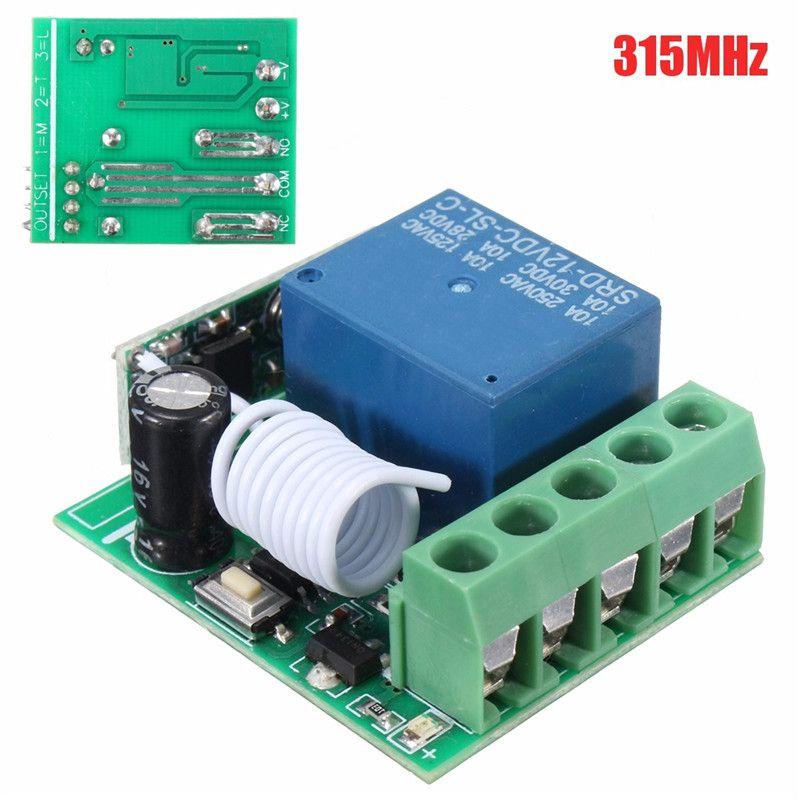 100m Dc 12v 10a 1ch Wireless Relay Rf Remote Control Switch Heterodyne Receiver 315mhz Hot Sale Remote Control Remote Wireless