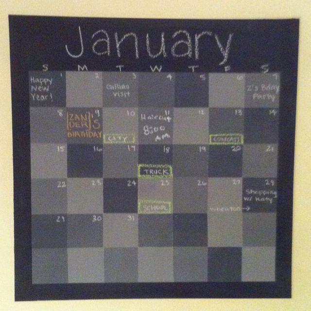 DIY chalkboard calendar in our kitchen