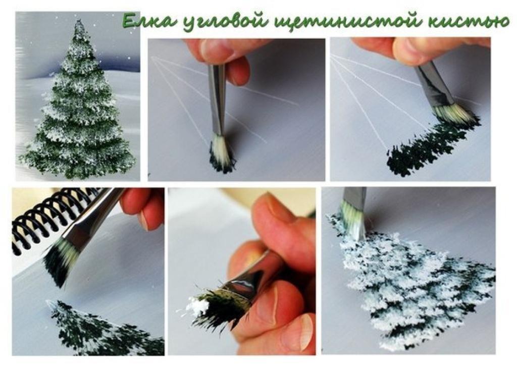 4 Mini tutoriels pour peindre des sapins d\u0027hiver! Noel