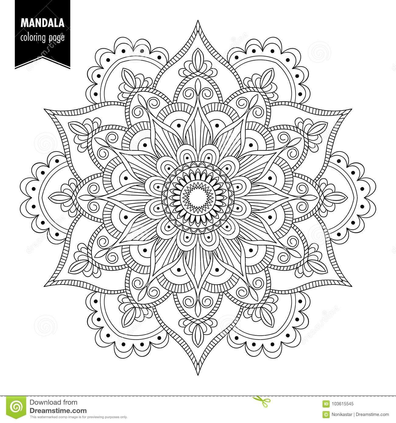 Illustration about Monochrome ethnic mandala design. Anti ...