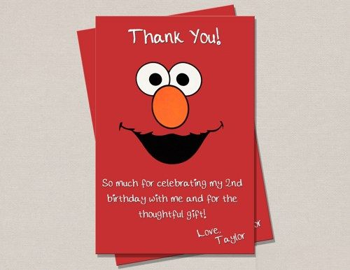 Elmo Birthday Thank You Card – Elmo Birthday Card