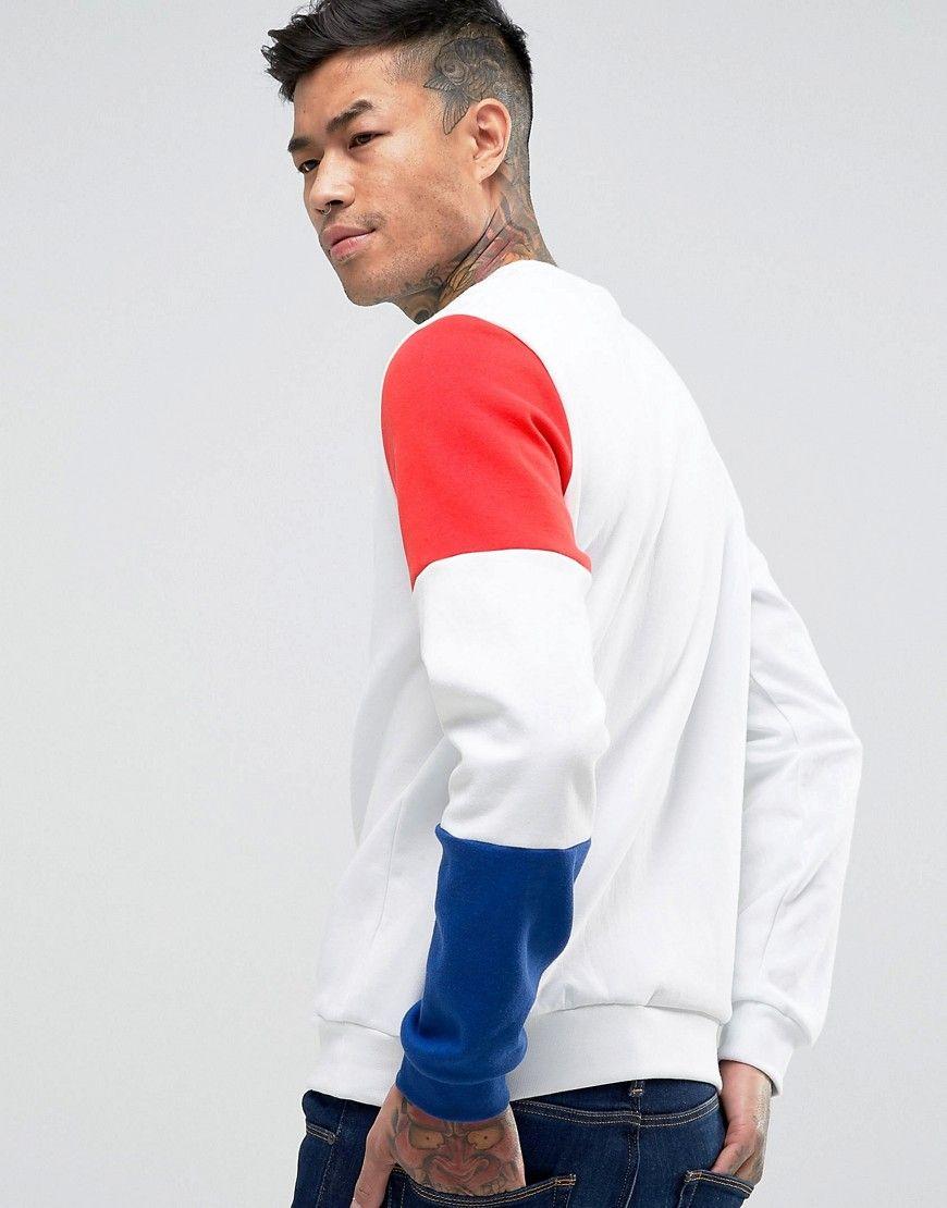 4330a75cd4df1 Le Coq Sportif Tricolore Crew Sweatshirt In White 1710524 - White