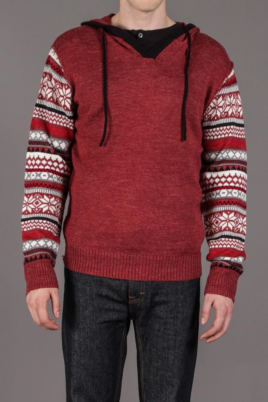 Projek Raw Pullover Hooded Knit Sweater w/ Fairisle Sleeves ...