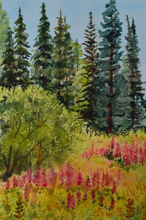 "15-5/""x7/"" ORIGINAL CANVAS FINE ART PRINT MODERN LANDSCAPE Mountain Lake Tree"