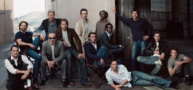 Tom Hanks, Tom Cruise, Harrison Ford, Jack Nicholson, Brad Pitt, Edward Norton, Jude Law, Samuel L. Jackson, Don Cheadle, Hugh Grant, Dennis Quaid, Ewan McGregor, and Matt Damon by Annie Leibovitz , 2003