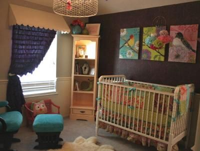 Our Baby S Bold And The Birdy Ful Nursery Decor W Bird Prints Custom Bedding Sewn From Amy Butler Fabrics