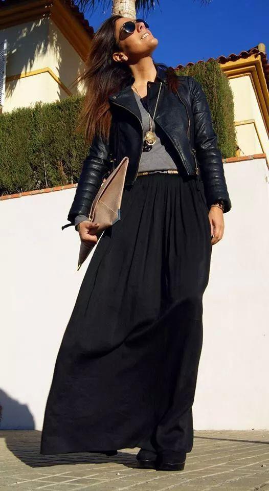 05647a344 Conjunto en negro. Falda larga con chaqueta de cuero | Moda bella ...
