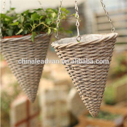 Handmade Cone Shape Rattan Wire Hanging Basket