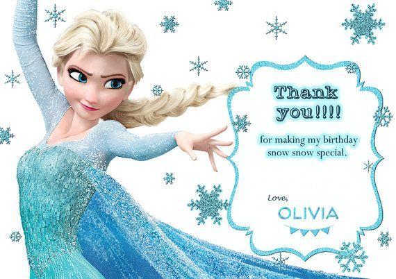 Frozen Thank You Cards Printable Elsa Birthday Party Frozen Themed Birthday Party Frozen Birthday Invitations