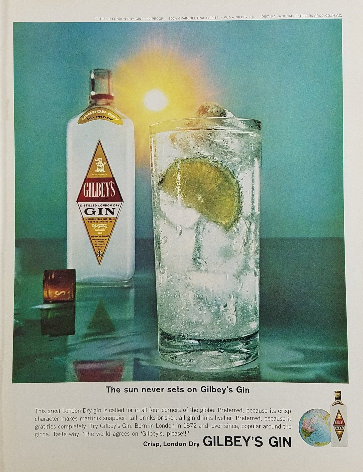 1964 Gilbey S Gin Vintage Ad Gilbey S Gin Gin Gin Drinks