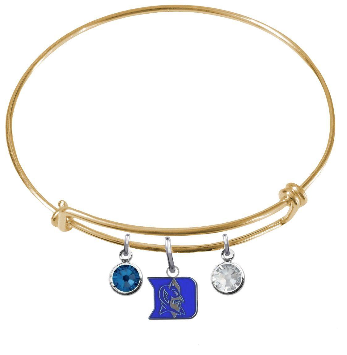Duke Blue Devils NCAA Color Edition Expandable Wire Bangle Charm Bracelet