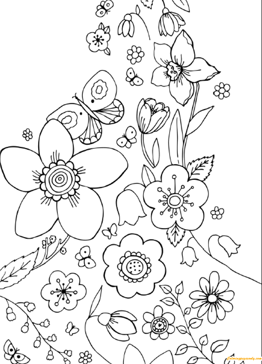 Flowers And Butterflies Spring Coloring Page This Cute Coloring Page Features Flower Coloring Sheets Spring Coloring Pages Printable Flower Coloring Pages