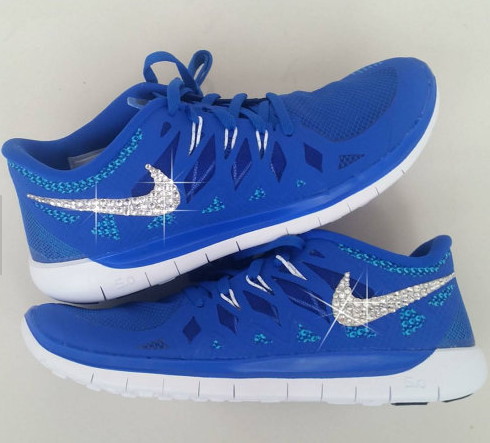 Bling Nike Outlet Shoes With Swarovski Elements Crystals Royal Blue White  Hotroshes Glitter Sneakers 2015 Sale
