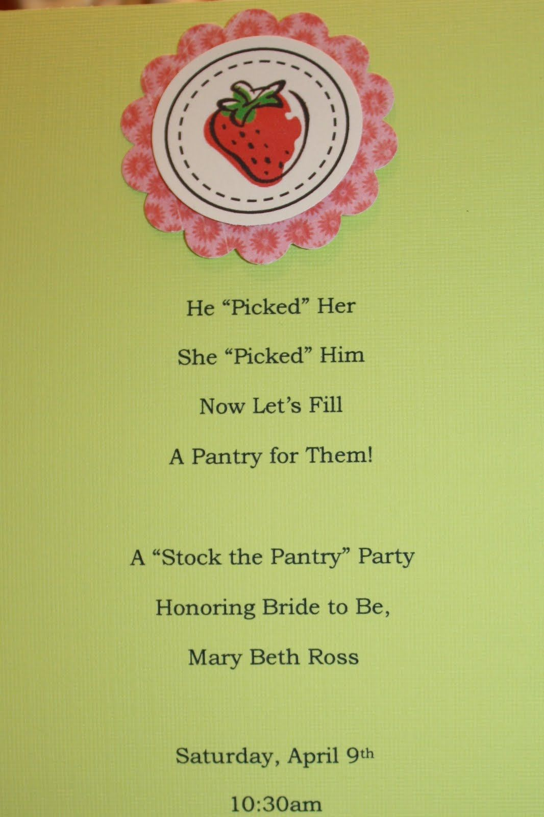 recipe themed bridal shower invitation wording%0A stock the pantry poem for bridel showers   Hand Picked