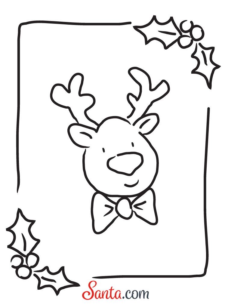 Ad Free Printable Reindeer Coloring Page From Santa0276