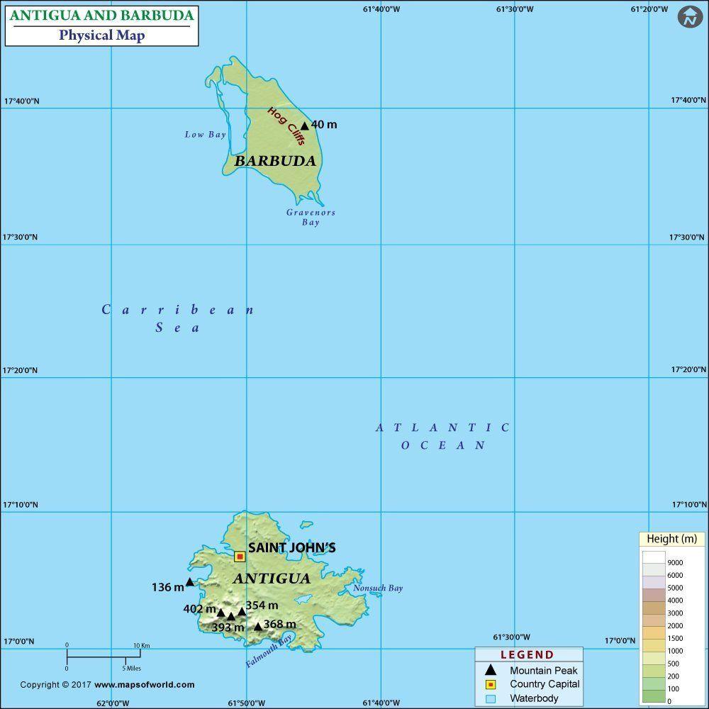 Antigua and Barbuda Map |Terrain Map Antigua And Barbuda