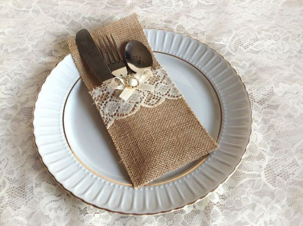 rustic burlap and lace rustic silverware holder wedding bridal shower birthday table decoration