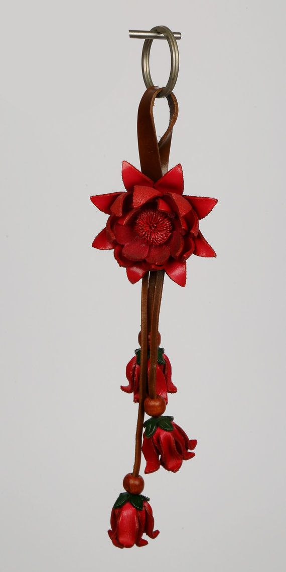 Dark Pink Leather Flower Keychain/Purse Charm by LeatherAX on Etsy